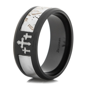 Men's Black Zirconium Camo Cross Realtree® AP Snow Camo Ring