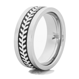 Men's Cobalt Chrome Ring with Black and Silver Baseball Stitch Inlay