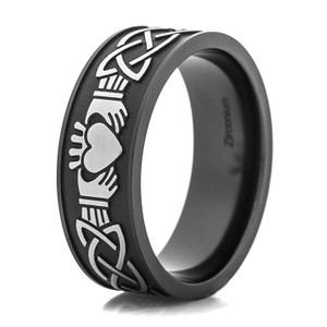 Men's Black Claddagh Ring