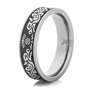 Men's Laser-Carved Titanium Twin Celtic Dragon Ring