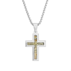 Men's Stainless Steel Realtree Camo Cross Necklace