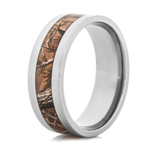 Men's Polished Titanium Realtree® AP Camo Ring