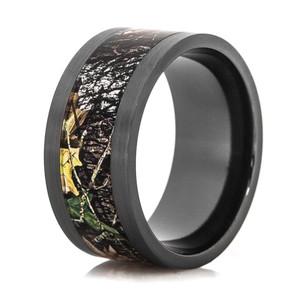 Men's Black Zirconium Mossy Oak Breakup Camo Ring