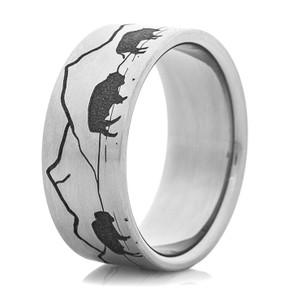 Men's Titanium Buffalo Scene Ring