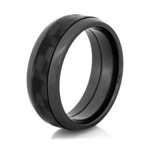 Men's Black Zirconium Dome Profile Polished Carbon Fiber Ring