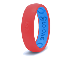 Raspberry Red Groove Original Narrow Silicone Ring