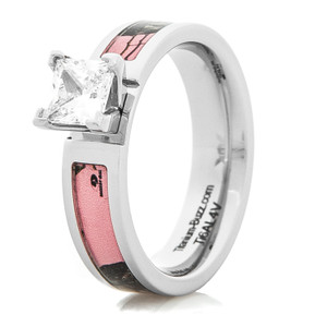 Women's Cobalt Chrome Pink Mossy Oak Diamond Engagement Ring