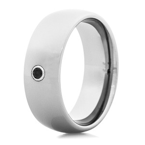 Men's Tungsten Carbide Wedding Ring with Black Center Stone