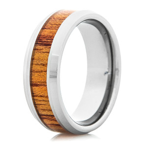 Men's Tungsten Carbide Ring with Bloodwood Inlay