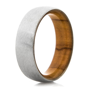 Men's Satin Finish Cobalt Ring with Olive Wood Sleeve