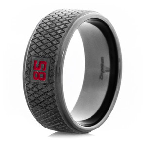 Black Hockey Puck Ring with Custom Number - Color Options