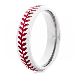 Women's Titanium Baseball Stitch Ring with Color