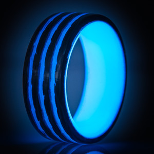 Bright Stripe Carbon Fiber Blue Glow Ring- Saturn