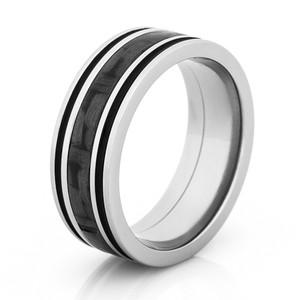 Titanium & Carbon Fiber Inlay with Dual Black Grooves