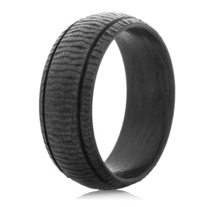Men's Ripple Carbon Fiber Ring with Dual Grooves