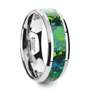 Men's Photon Tungsten Wedding Band with Green/Blue Opal Inlay