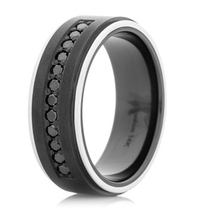 Men's Black Zirconium Ring with Dozen Black Diamonds and 14k White Gold Flat Grooved Edges
