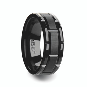 Men's Beveled Black Tungsten Carbide Wedding Band with Brushed Center and Alternating Grooves