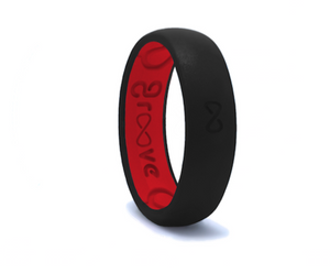 Midnight & Raspberry Groove Original Narrow Silicone Ring
