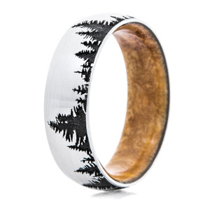 Men's Cobalt Chrome Tree Line Ring with Wood Sleeve