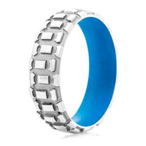 Men's Titanium Dirt Bike Ring with Ridgeway Blue Interior