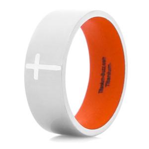 Men's Titanium Polished Cross Ring with Hunter Orange Interior