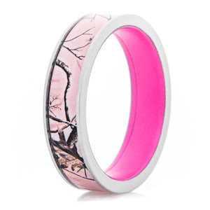 Women's Titanium Realtree®AP Pink Ring with Pink Interior