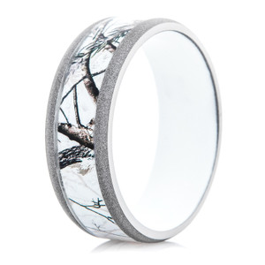 Men's Titanium Realtree® Snow Camo Ring with White Interior