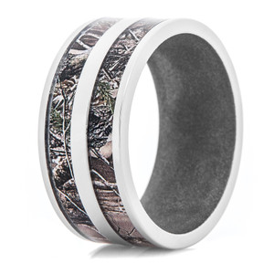 Men's Titanium Realtree® AP Double Barrel Camo Ring with Gun Metal Interior