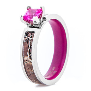 Women's Camo Engagement Ring with Pink Sapphire and Matching Interior