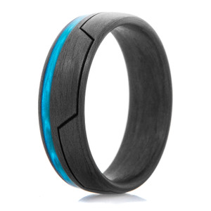 Men's Carbon Fiber Glow in the Dark Ring with Bright Blue Groove Inlay