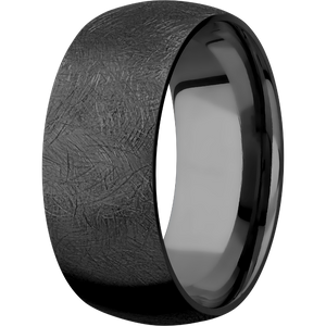Men's Customizable Black Zirconium Domed Textured Ring
