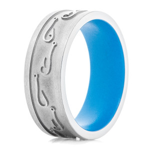 Men's Titanium Fishing Hook Ring with Sea Blue Interior