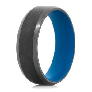 Men's Black Zirconium Dual Finish Ring with Blue Interior