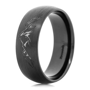 Men's Black Zirconium Carved Mountain Ring