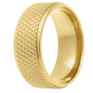 Men's 14k Yellow Gold Hockey Puck Ring
