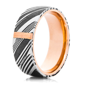 Men's Woodgrain Damascus Steel Band with Rose Gold Bar and Sleeve
