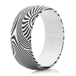 Men's Acid Finished Sunset Patterned Damascus Steel Ring with White Interior