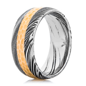 Men's Damascus Steel Ring with Hammered 14k Yellow Gold Inlay