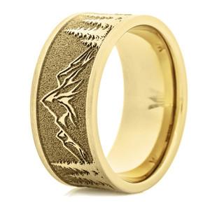 Men's 14k Yellow Gold Mountain Range Ring