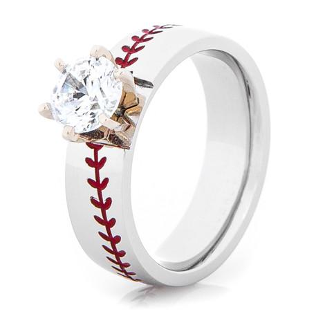 Women S Cobalt Baseball Sch Engagement Ring