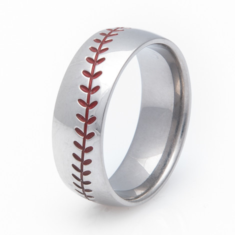 Titanium Baseball Wedding Ring with Color Stitching TitaniumBuzz