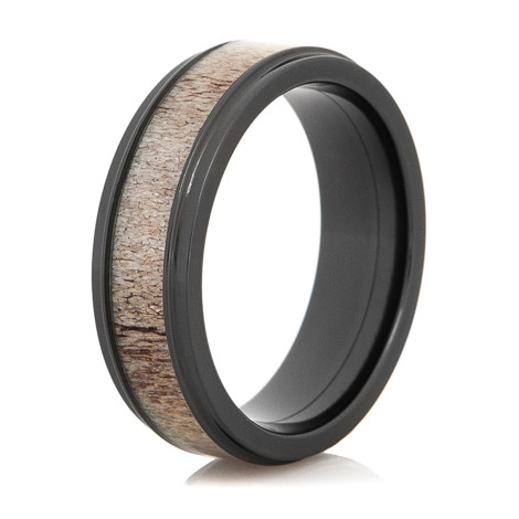 Men S Black Zirconium Antler Wedding Band