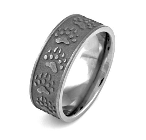 Carved Bear Tracks Ring Unique Titanium Rings More TitaniumBuzz