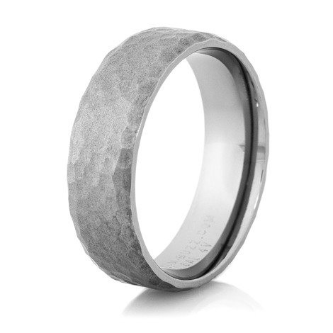 Hammered Gunmetal Titanium Wedding Band TitaniumBuzz