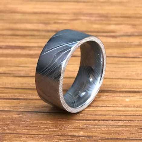 Men S Flat Profile Damascus Steel Wedding Band