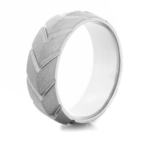 Mens Gunmetal Titanium Chevron Wedding Ring TitaniumBuzz