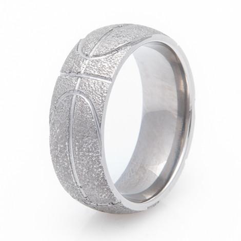 Mens Titanium Basketball Wedding Ring TitaniumBuzz