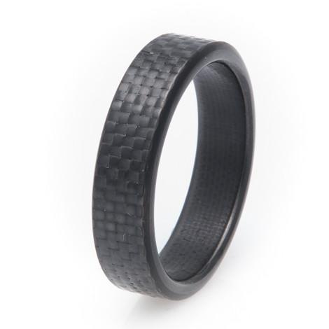 Mens Narrow 6mm Kilo Design Carbon Fiber Ring Unique Titanium