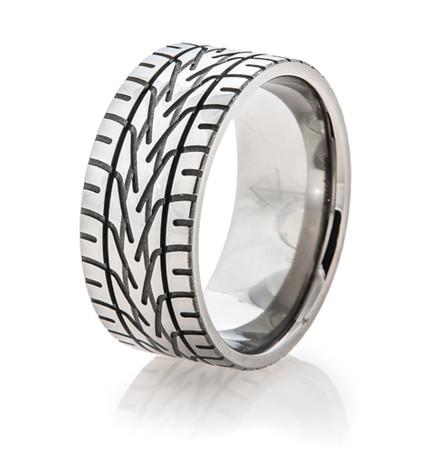 Men S Anium Nascar Rain Tire Tread Ring